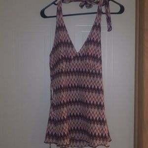 Pink and white halter top, size L